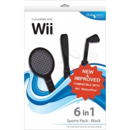 6 in 1 Sports Pack - Black For Nintendo Wii
