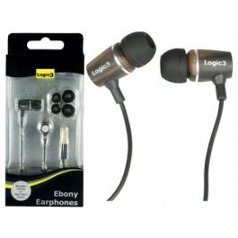 Ebony Earphones with mic Logic 3