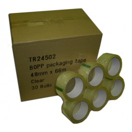 30 Rolls of Clear Low Noise Packing Tape 48mm x 66m