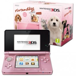 Nintendo 3DS Coral Pink Console Bundle with Nintendogs and Cats Golden Retriever