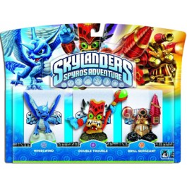 Skylanders Spyros Adventure Triple Character Pack Whirlwind Double Trouble Drill Sergeant