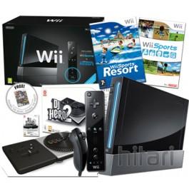Nintendo Wii Console Black with DJ Hero 2 Turntable Kit Bundle Nintendo Wii