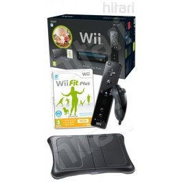Nintendo Wii Black with Wii Fit Plus Includes Balance Board and Wii Remote Plus + Nunchuck + Controller