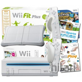 Nintendo Wii and Wii Fit Plus with 148s and 4 Controllers