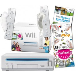 Wii Console, Wii Play and 4 Controllers (99s)