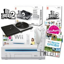 Nintendo Wii Console White and DJ Hero 2 Turntable Kit Bundle Nintendo Wii