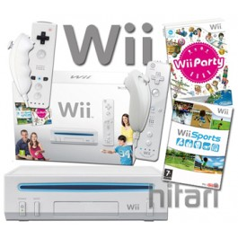 Nintendo Wii White Party Pack with Wii Sports 85 Minis Nunchuck and Controller