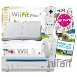 Nintendo Wii White Party Pack with Wii Sports 85 Mini Games Nunchuck Controller Wii Fit Plus and Balance Board