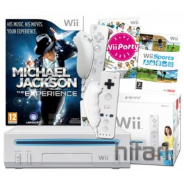 Nintendo Wii Console + Michael Jackson The Experience + 4 Controllers Nintendo Wii