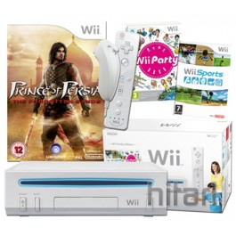Nintendo Wii Console White with Wii Party, Wii Sports and Prince Of Persias