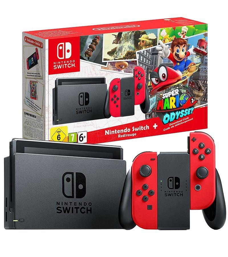 Nintendo Switch Red Console With Super Mario Odyssey Game