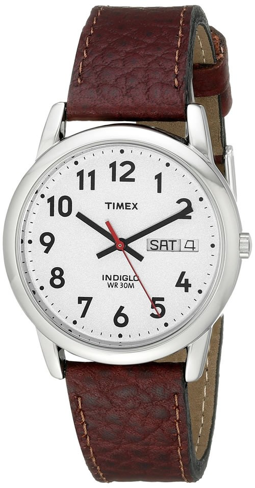 timex s easy reader brown leather model no