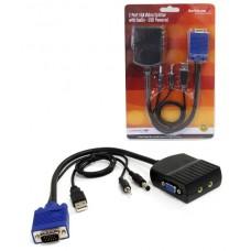 2 Port VGA Video Splitter with Audio - USB Powered