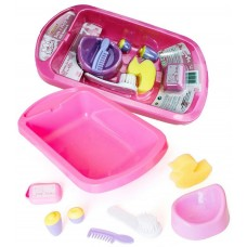 Casdon Dolls Bath and Potty Set  Brush Comb Sponge Talc Tub Role Play Kids Toy
