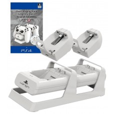 Officially Licensed PS4 Twin Docking Charging Station with Battery Pack - White