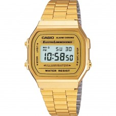 Casio Men Quartz Watch Grey Dial Digital Display - Gold Stainless Steel Strap