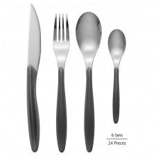 Swan Oslo 24 Piece Cutlery Set In Colour Window Gift Box - Grey (SWKA2400GRYN)