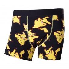 Pokemon Adult Male Dancing Pikachu All-Over Pattern Boxer Short Large - Black