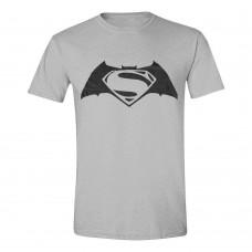 DC COMICS Batman vs Superman Dawn of Justice Logo T-Shirt L - Grey (GL06BVS-L)