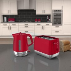Morphy Richards Chrome Pack Poppy Red Kettle and Toaster Set (Model No. AMPORTP)