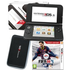 Nintendo 3DS XL Black Console+ Fifa 14 Game + Black Universal Carry Case Bundle