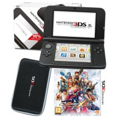 Nintendo 3DS XL Black Console+ Project X Zone Game + Black Universal Case Bundle
