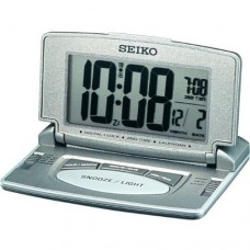 Seiko QHL021N Travel LCD Desk Clock - Grey Silver
