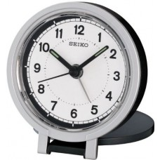 Seiko QHT011K Travel Alarm Clock  White/ Black
