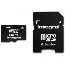 Integral 4GB Class 10 Micro SDHC Memory Card with SD Adapter (INMSDH4G10)
