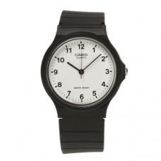 Casio Unisex Quartz Watch with White Dial Analogue Display + Black Strap (MQ24-7BLL)