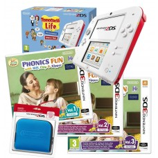 2DS Red Console + Tomodachi Life & All Biff and Chip 3DS Games + Case Bundle