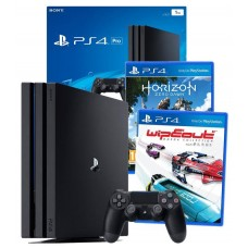 PS4 PRO 1TB Console + Horizon Zero Dawn Game & WipEout Omega Collection PS4 Games