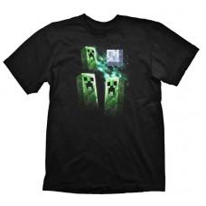 Minecraft Three Creeper Moon Large T-Shirt  Black (GE1143L)