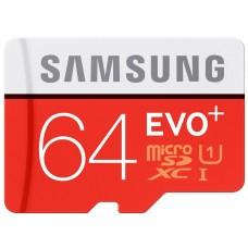 Samsung Memory Card + SD Adapter 64GB EVO Plus MicroSDXC UHS-I Grade 1 Class 10