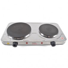 Lloytron Kitchen Perfected 2500w Double Hob Hotplate - Brushed Steel (E4201BS)