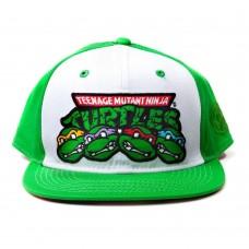 Teenage Mutant Ninja TURTLES TMNT Faces and Logo Snapback Baseball Cap Green/White