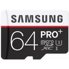 Samsung 64GB Pro Plus MicroSDXC UHS-I Grade U3 Class 10 Memory Card + SD Adapter