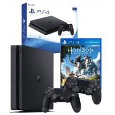 PS4 1TB Console Black + Horizon Zero Dawn Game PS4 + 2 Dualshock Controllers Bundle