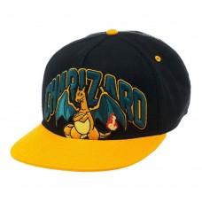 Pokemon Charizard Dragon Snapback Baseball Cap - Black/Orange