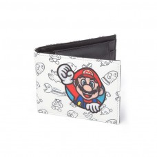 Nintendo Super Mario Bros Mario Patch with All over Pattern Bifold Wallet -White