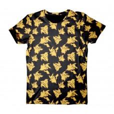 Pokemon Adult Male Pikachu All-Over Print T-Shirt XL Size - Black