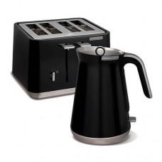 Morphy Richards Black Aspect Designer Kettle and 4 Slice Toaster Set ASPBLKPACK