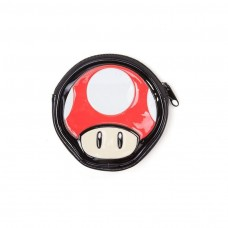 Super Mario Bros Red Mushroom Shaped Zipped Coin Pouch Purse Multi-colour