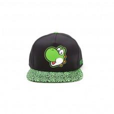 Super Mario Bros Yoshi Face Snapback Animal Print Brim Baseball Cap Green/Black