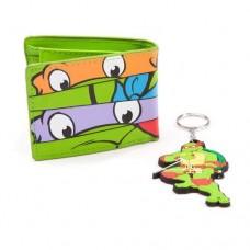 TEENAGE MUTANT NINJA TURTLES (TMNT) Masks Bi-fold Wallet and Raph Keychain Giftset  Green (XW15RTTMT)