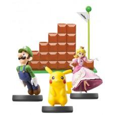 3 Amiibo Characters + End Level Modular Display Stand Bundle Luigi Pikachu Peach