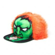 CAPCOM Street Fighter Blanka Character Face with Orange Hair Unisex Snapback Baseball Cap, One Size, Black/Green/Orange (SB201425STR)