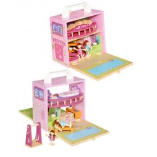 BoxSet Casdon Wood Play Dolls House and Kitchen Sets Bundle - Role Play Kids Toy
