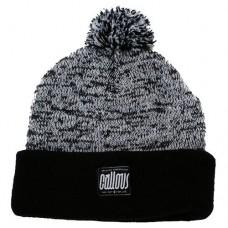 Callous Speckle Bobble Thick Knit Acrylic Beanie Hat, Black/White (C019)