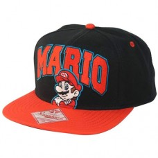 Nintendo Super Mario Bros. Embroidered Mario Logo and Character with Luminous Colours Unisex Snapback Baseball Cap, One Size, Black/Red (SB0GDESMB)